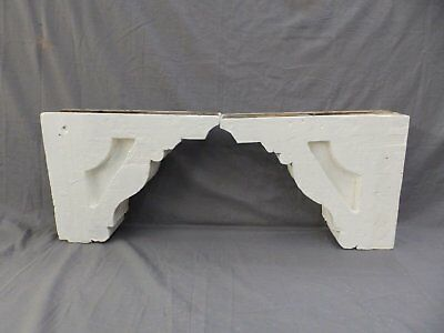 Pair Antique Wood Corbels Gingerbread Victorian Garden Shabby Vtg Chic 415-17P 6