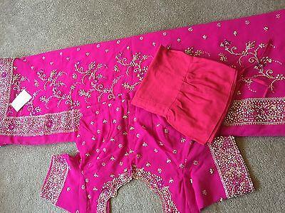 Saree- Bollywood Fashion Wedding Party Wear Heavy Designer Sari Indian Asian 8