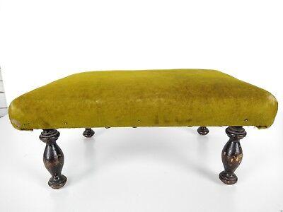 Antique 1800's Victorian Green Velvet Wooden Footstool 8