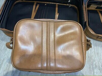 Vintage SCOVILL SUITCASE Tan Faux Leather (3) Piece Luggage 11