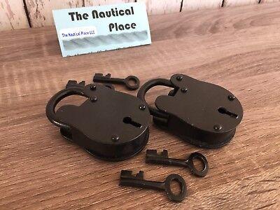(2) x Iron Lock & Keys ~ Old Vintage Antique 1800s Style ~ Black Jailer Police 6