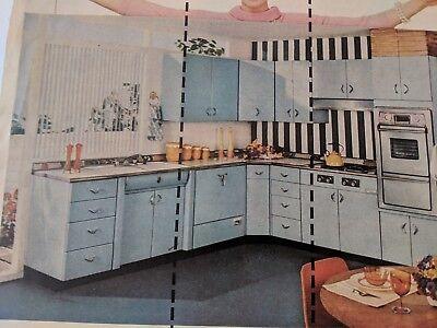 1957 Vintage Print Ad 50 S Youngstown Kitchen Home Decor Blue Cabinet Measure 8 00 Picclick