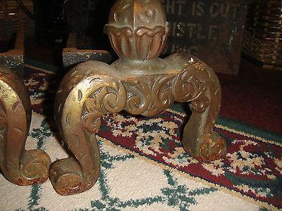 Antique Andirons-Pair-Bulbous Design-Cast Iron-Etched Footing-Fireplace Decor 7