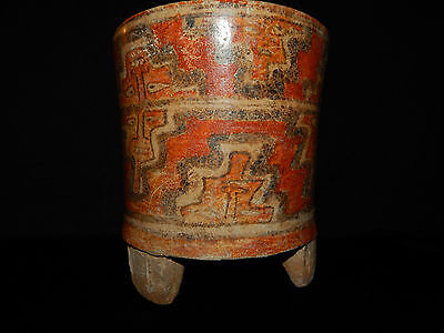 Pre-Columbian Polychrome Three-Footed Mayan Ceramic Pot, Authentic, Rare 2