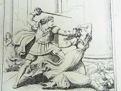 "Bartolomeo Pinelli: Radierung Rom 1829 - Szene aus ""ORLANDO FURIOSO"" - 35x48 cm!"