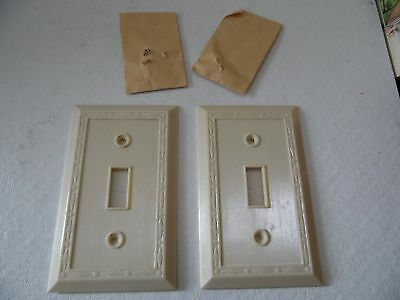 Vtg. Two Ivory Color Single Switch Plate Cover w/ Diamond Design Border 3