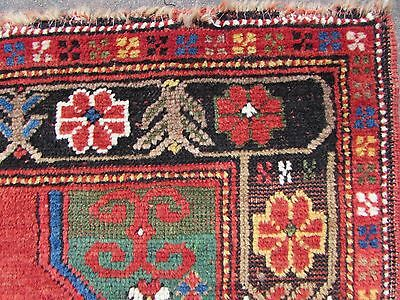 Antique Traditional Hand Made Caucasian Rug Red Green Wool Oriental Rug 142x99cm 6