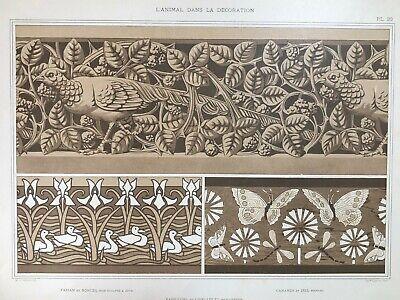 Antique 1897 French Art Nouveau Print, L'Animal Dans La Decoration, Plate 20 (2) 2