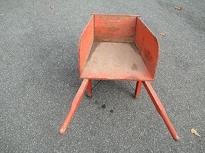 orange WOOD wheelbarrow  HORTICULTURIST original  VINTAGE - 1900's  WHEEL BARROW 8