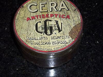 Antique CERA Antiseptic round Tin - Industria Chilena 4