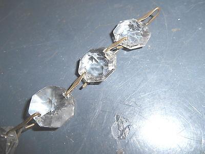 Vintage Diamond Cut Pattern Crystal Glass Pear Shape Dropper + 4 Glass Octagons 3