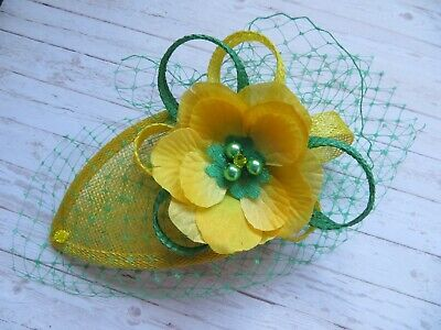 Canary Daffodil Yellow & Emerald Green Fascinator Headpiece Wedding Ascot Races 10