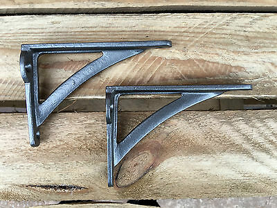 "Pair Pewter 4.5"" ANTIQUE HEAVY CAST IRON VICTORIAN SHELF WALL BRACKETS - BR23px2"
