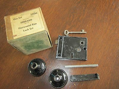Vtg Hibbard Black Horizontal Rim Lock Set #1773M in original box 2