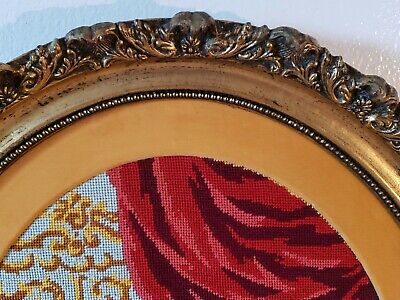 Antique Victorian Oval Wood Gold Gilt very ornate Frame EMBROIDERED Man n woman 5