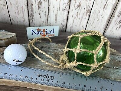 """REPRODUCTION GREEN GLASS FLOAT BALL BUOY WITH FISHING NET 2/"""" #F-364"""