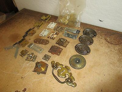 Vintage Misc Pulls Hinges L Bracket Bag of L Hinges Drawer Cabinet Pulls More 12