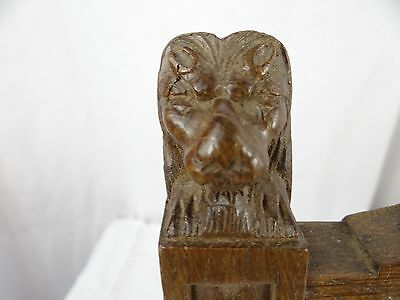 """14"" Antique French Oak Wood Carved Pediment Panel Ornament - Lions 4"