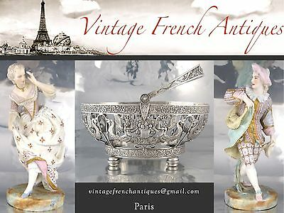 Antique French Bronze Sconce with Crystal Prisms, Baccarat, Pinet, Signed