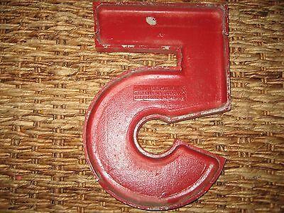 """Vintage/Antique Cast Metal Architectural Number """"5"""" Wagner Sign Service Co. 2"""