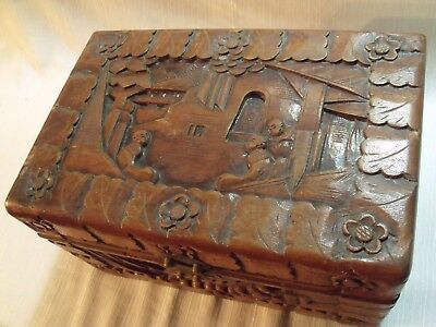 "Ornate Antique Chinese Hand Carved Camphorwood 12"" Dresser Box 2"