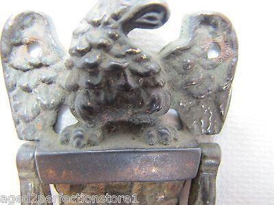 Antique 19c Cast Iron Eagle Door Knocker exquisite small ornate interior bathrm 10