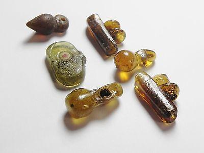 Zurqieh - Vs17- Roman Egypt , Lot Of 6 Glass Beads & Pendants , 300 - 400 A.d 2