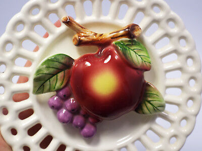 Vintage Pierced w/ Fruit Design Wall Pocket