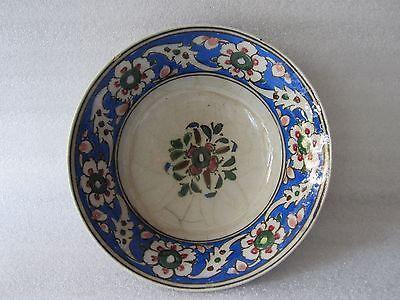 Beautiful Antique Iznik Turkish Ottoman Faience Pottery Hand Painted Bowl 2