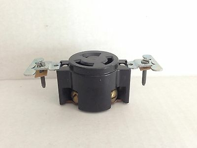 NEW OLD STOCK Leviton BLACK BAKELITE 3 Wire Flush Receptacle Mount 30a 250v 8