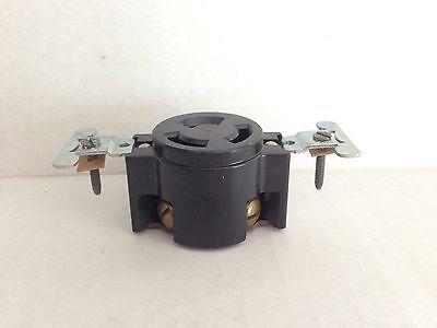NEW OLD STOCK Leviton BLACK BAKELITE 3 Wire Flush Receptacle Mount 30a 250v 8