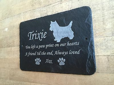 Pet Westie Memorial Slate Plaque, Personalised for you. West Highland Terrier 3