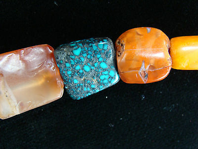 Ancient Mundigak Afghan Banded Carnelian Agate &Tibetian Turquoise Bead Necklace 6