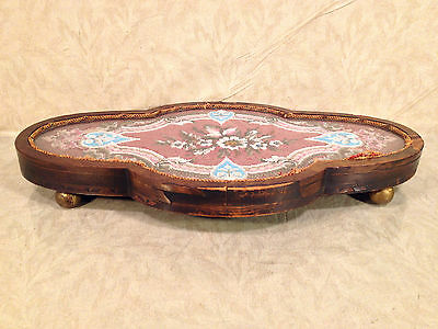 Antique Wooden Center Piece with Veneer Inlay Glass and Embroidery Bead Design 7 • CAD $242.45