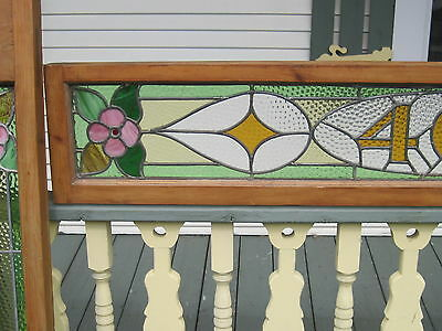 Set Of 3  Antique Victorian Stained Glass Window Transom Ans Side Door Architect 5