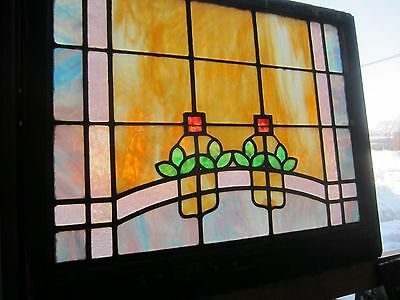 ~ ANTIQUE AMERICAN STAINED GLASS WINDOW ~ 32.25 x 26 ~ ARCHITECTURAL SALVAGE ~ 4