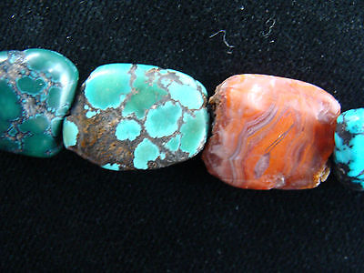 Ancient Mundigak Afghan Banded Carnelian Agate &Tibetian Turquoise Bead Necklace 7