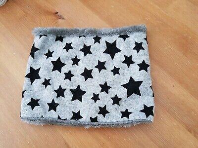 uk baby kids winter scarf snood faux fur very warm, grey/stars 3