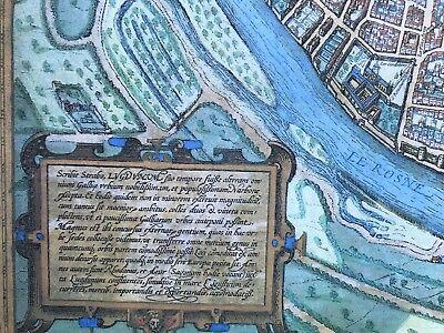 Old Antique Historic Map Lyon, France: 1572 Braun & Hogenberg REPRINT 1500's 2