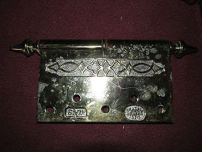 Pair Antique Victorian Large Fancy Hardware Hinges Dated 1871 6