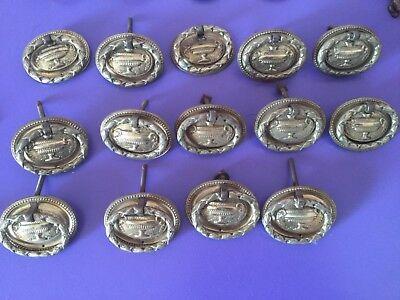 Good Vintage Set Brass Drawer Handles X 14. 2