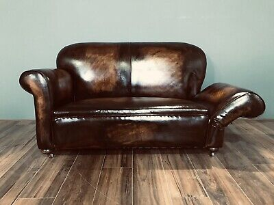 Restored Original 1920's Art Deco Club Sofas In Hand Dyed Leather 3