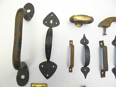 Antique Vintage Mixed Lot Wood Metal Iron Brass Cabinet Door Pulls Handles Parts 4
