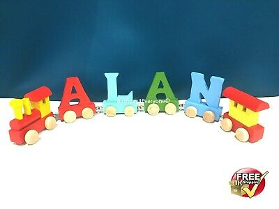 Personalized Letter Name wooden Train Birthday New Year Christmas Gift Toy 8