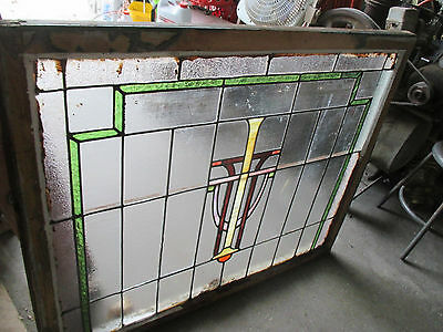 ~ Antique American Stained Glass Window ~ 44 X 36 ~ Architectural Salvage ~ 10