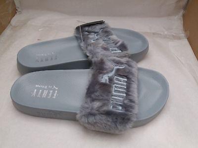 PUMA BY RIHANNA Fur Slide Quarry Silver FENTY Leadcat 362266