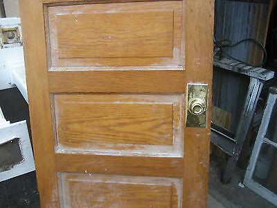 """circa 1900 SOLID oak PANELED door CHICAGO brownstone 83.5"""" x 32"""" x 1.75"""" 11"""