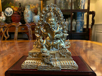 A Large Chinese Qing Dynasty Gilt Bronze Statue, Marked. 2