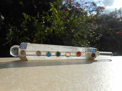 7 CHAKRA FACETED Crystal Quartz Healing Aura Wand With Crystal Ball &  Point #22
