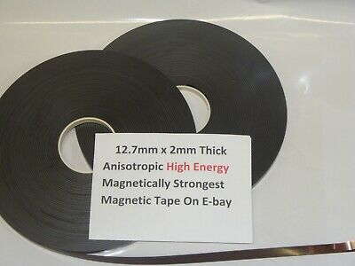 Magnetic Tape,Strip Self Adhesive 12.7mm x 2mm  Anisotropoic Strong High Energy 4